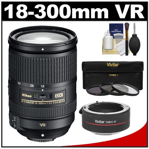 Where to shop for Nikon 18-300mm f/3.5-5.6G VR DX ED AF-S Nikkor-Zoom Lens with 2x Teleconverter (= 18-600mm) + 3 (UV/FLD/CPL) Filters + Accessory Kit (online)