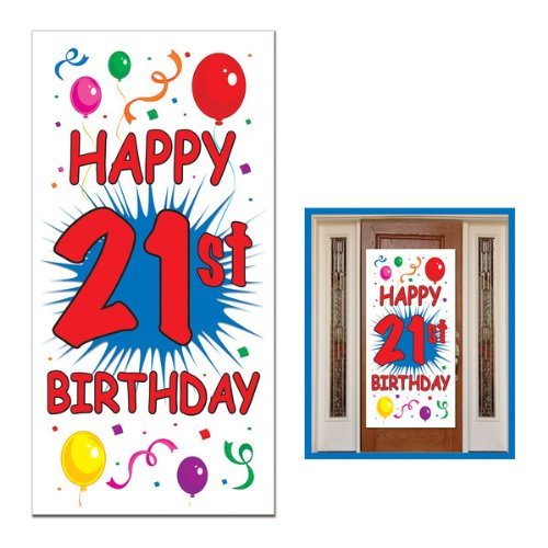 21st Birthday Door Cover Party Accessory (1 count) (1/Pkg)