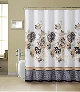 White Tan Black Gray Floral 13 Piece Bathroom Shower Curtain Hooks Home Kitchen