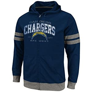 NFL San Diego Chargers Vintage Classic II Full Zip Hooded T-Shirt - Navy Blue by VF