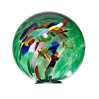 "Garden Globe, Roseglobe, Glass Globe ""POINT"", multicolored green, diameter aprox. Ø 13 cm, decorative ornament, spherical, handmade Glass (GardenFlair powered by CRISTALICA)[Garden Globe, Roseglobe] from CRISTALICA"