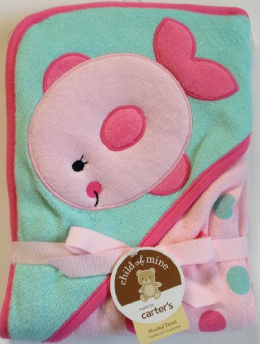 Carter's Pink Green Fish Hooded Hoodie Towel Polka Dots