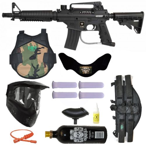 Us Army Alpha Black E-Grip Paintball Marker Gun 3Skull 4+1 Protector Mega Set