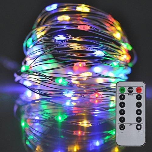 Fata Luci 8Modalità 50LED dimmerabile illuminazione Luce impermeabile 5M argento cavo satubrown, funzionamento a batteria e tabelle decorazioni Barattoli con telecomando illuminazione (colorato)