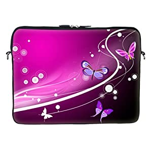 High Quality Thick Neoprene Laptop Carrying Case Sleeve Bag w. Soft Fabric Lining & Eyelet (D-Ring) for 17 17.3 Inch Notebook - Pink Butterfly Design from Meffort Inc
