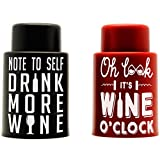 2 Vacuum Wine Stoppers- Best wine gifts accessories, keep your wine fresh & add a personalized wine bottle touch with funny bottle cap art