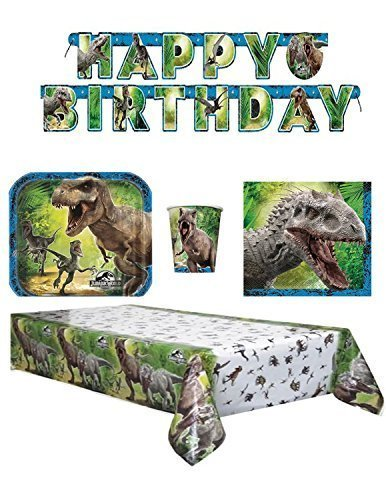 The New Jurassic World Party Pack Napkins ,Dessert Plates and Cups, Banner and Table cover