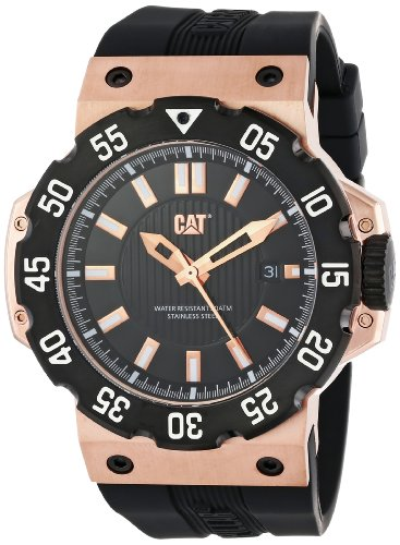 CAT Men's D319121129 Deep Ocean Date Black Analog Dial and Rose-Goldtone Case with Black Rubber Strap Watch