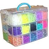 Toy - XXXXXXL 3 St�ckiger Loom Bands Starter Famaly Box Koffer ink mehr als 6000 Loom Bandz DIY Set Webrahmen 1x Mini Stick�s 25 Verschiedene Farben ,S-Clips, Charms, Anh�nger, Perlen enthalten