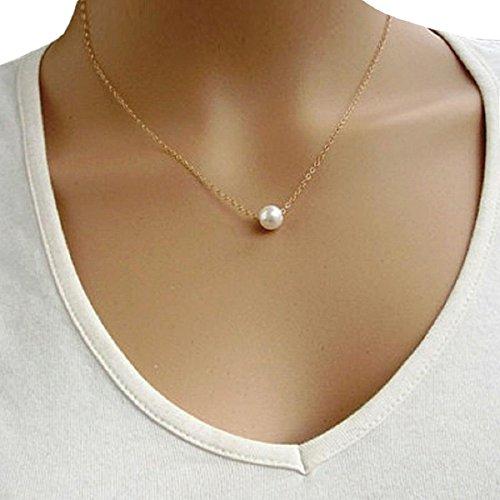 Baishitop Simple Imitate Pearl Bib Choker Statement Collar Necklace