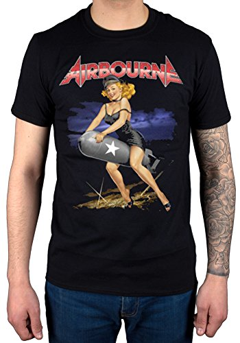 Official Airbourne Missile Rider-Maglietta, colore: nero, motivo: Hard Rock nero XL
