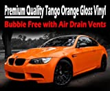 TIS (TM) 2 x A4 Sheets of Gloss 'Tango' Orange Air Drain Film - Car Wrap Vinyl Sticker Sheet. Bubble Free, 0.20mm thick, Dry Glue Technology