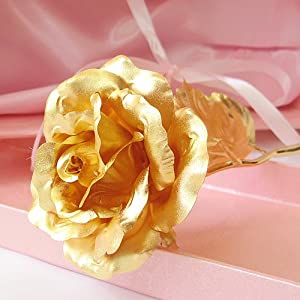 KDLINKS® 24K 6 Inch Gold Foil Rose, Best Valentine's Day Gift, Handcrafted and Last Forever!