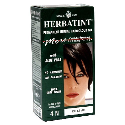 Herbatint Permanent Herbal Haircolour Gel, with Aloe Vera, 4N, Chestnut, 4.56-Ounce
