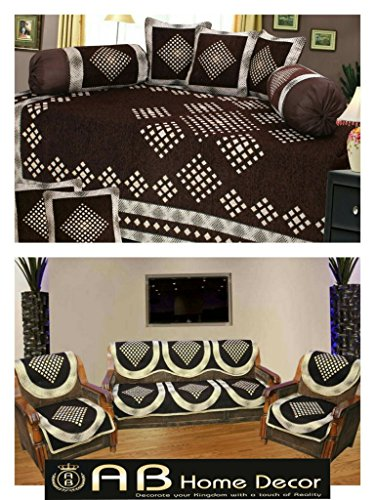 Ab Home Decor Combo of Diamond Design Diwan Set and Sofa Cover Sets, Coffee