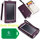 Motorola Droid 4 XT894 Wallet phone holder with OPAQUE front view window _UNIVERSAL_ in Purple