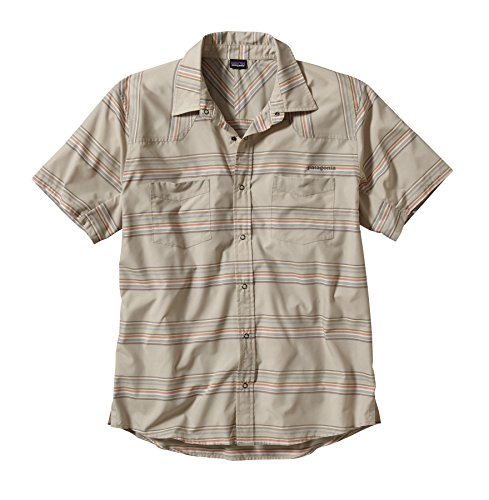 Patagonia T-shirt da uomo a maniche corte Forerunner western stripe: bleached stone s
