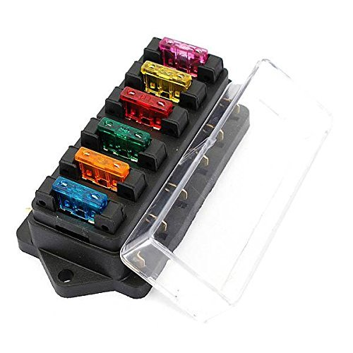 Ninth-City 6 Way Car Auto Standard Blade Fuse Box Holder Block with 3A/5A/10A/15A/20A/30A Fuses