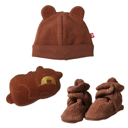 Zutano Unisex-baby Newborn Cozie Hat With Bootie And Plush Toy Set, Chocolate, 3 Months