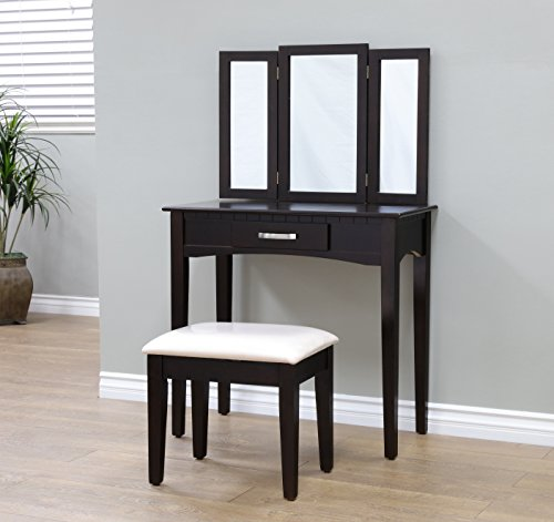Cheapest Prices! Frenchi Home Furnishing 2 Piece Home Furnishing Stool Set & Vanity, Espresso