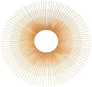 Ashton Sutton Wall Mirror, Gold Metal Sunburst Rays