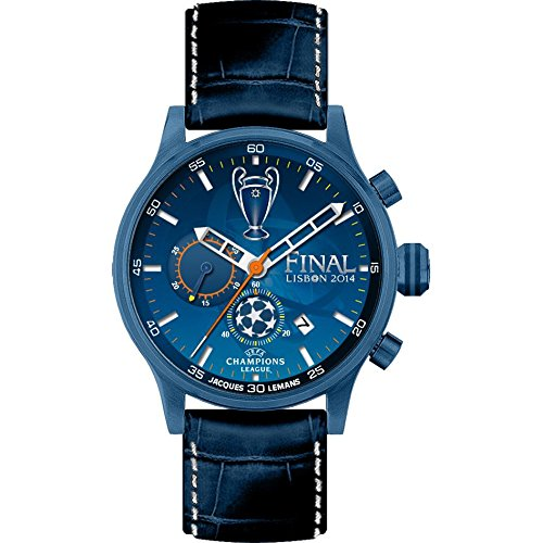 Jacques Lemans UEFA U-42B 42mm Ion Plated Stainless Steel Case Calfskin Mineral Men's Watch