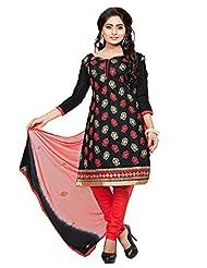 Divya Emporio Unstitched Cotton Silk Salwar Suit Dupatta(DE-018_Black)