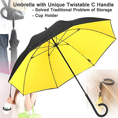 NEWBRELLAs Durable Travel Umbrella with Unique Twistable C Handle - Solved Traditional Problem of Storage (Black/Yellow)