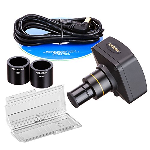 AmScope-MU1400-CK-Digital-Microscope-Camera-for-Still-and-Video-Images-40x-Magnification-05x-Reduction-Lens-Eye-Tube-or-C-Mount-USB-20-Output-Includes-Software-and-Calibration-Slide