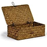 Small Seagrass Storage Basket with Lid - Natural