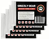 """Emergency Thermal Blankets (4 Pack) - Grizzly Gear - Folds to 52"""" X 84"""""""