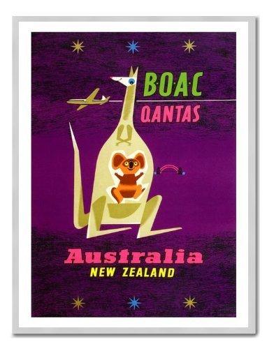 boac-a-australia-nueva-zelanda-air-travel-impresion-pizarra-magnetica-plata-enmarcado-41-x-31-cms-ap