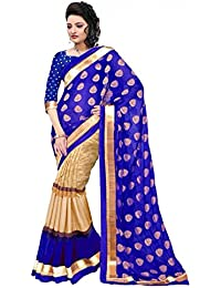 Jay Varudi Creation Women's Blue & Beige Cottan Silk Half-Half Sarees For Women (SB03_Julli_Blue_Free_Size)