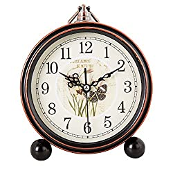 Vintage Silent Desk Alarm Clock Non Ticking Quartz Movement Battery Operated , HD Glass Lens, Easy to Read (6)