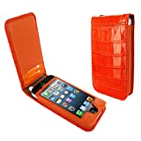 Piel Frama Leather Case Magnetic Closure for Apple Iphone 5 Crocodile Pattern Orange