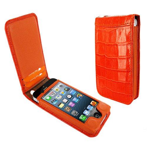 Special Sale Apple iPhone 5 / 5S Piel Frama Orange Crocodile Magnetic Leather Cover