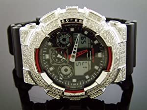 New Casio G-shock Diamond Watch Ga100 5.00ct Black Large Diamonds Full Case