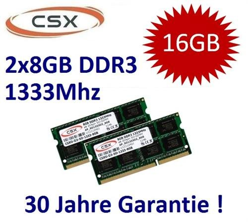 Mihatsch & Diewald / CSX 16GB Dual Channel Kit 2 x 8 GB 204 pin DDR3-1333 SO-DIMM (1333Mhz, PC3-10600S, CL9) passend für aktuelle Apple Systeme und Notebooks mit 16GB Unterstützung (Core i5/i7 2. Generation) - 30 Jahre Herstellergarantie