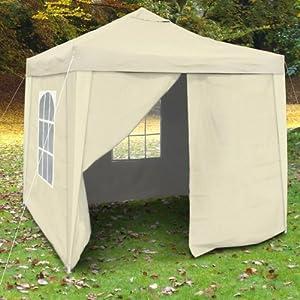 Seitenwände, Seitenteile, Ersatzwände, Zeltwände, Pavillonwände, beige, 4er-Set, 2x Fenster/ 1x verschließbar/ 1x Komplett geschlossen, wasserabweisend
