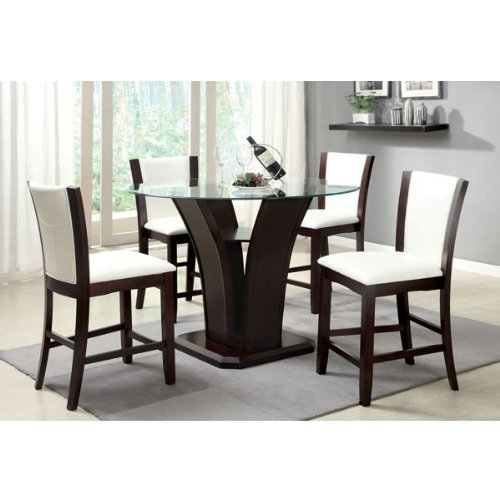 Trend Manhattan Dark Cherry Finish Piece Round Glass Top Ivory White Upholstery Counter Height Dining