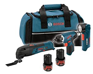 Bosch CLPK31-120 12-Volt Max Lithium-Ion 3-Tool Combo Kit (Pocket Driver, Oscillating Tool, Flashlight)