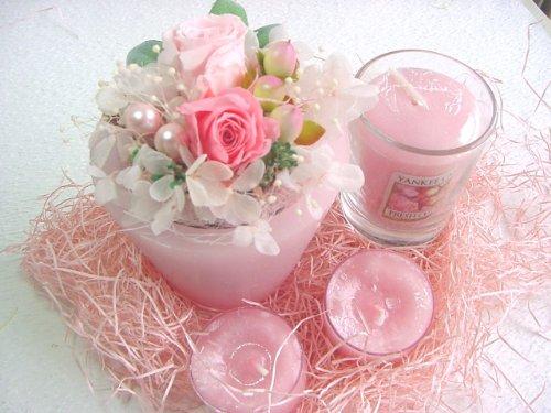 翌日発送!ROSE MODE プリザーブドフラワーとアロマキャンドルのギフトセット(お誕生日 記念日などの贈り物に) (ピンク)