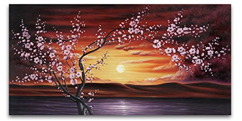 Wieco Art Plum Tree Blossom Flower Oil Paintings Canvas Prints Wall Art 40x20inch