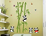 UberLyfe Cute Pandas and Bamboo Trees Wall Sticker (Wall Covering Area: 125cm x 110cm)