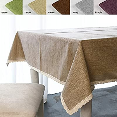ColorBird Solid Cotton Linen Tablecloth Waterproof Macrame Lace Table Cover for Kitchen Dinning Tabletop Decoration