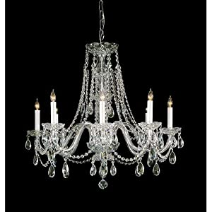 Bohemian 8 Light Candle Chandelier Crystal Type/Finish: Swarovski Spectra/Polished Brass