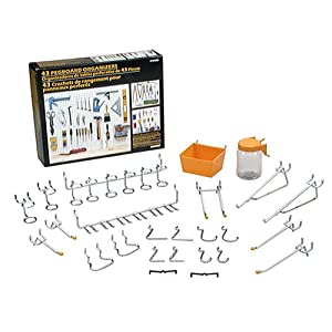 Click to read our review of Garage Pegboard: Crawford 1843B Pegboard Organizer, 43-Piece