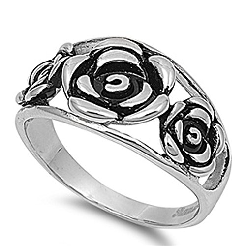 Men'S Rose Flower Ring Unique Polished Stainless Steel Comfort Fit Band New 12Mm Size 10 Valentines Day Gift