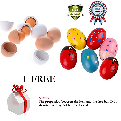 Baby Wooden Easter Eggs Yolk Pretend Play Kitchen Game Cook Food Kids Children Toy Music Shaker Instrument Percussion Rattle Maracas Musicial 11 Pcs with 2 pcs Free Gift (Cool Skull Stuff compare prices)