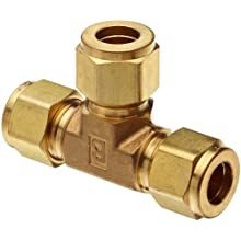 Parker A-Lok 1ET1-B Brass Compression Tube Fitting, Tee, Tube OD